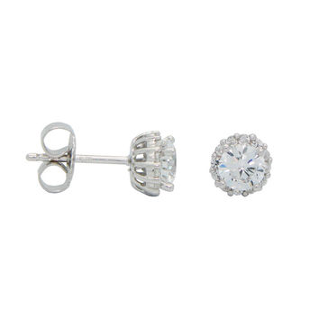 Silver Rhodium Plated Stud Errings Halo Style 4mm Cz Center