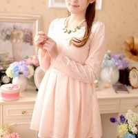 Kawaii Lolita Sweet Lace Hollow Out Long Sleeve Dress - S M L from Tobi's Finds