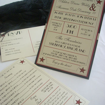 Glamorous 1920's 1930's 1940's Old Hollywood Wedding Invitation Set of 100 Old Glam invitations Movie theme wedding ticket style invites