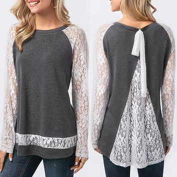 Elegant Spring O Neck Back Lace Split Long Sleeve Tops