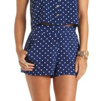 Polka Dot High-Waisted Shorts by Charlotte Russe - Navy Blue