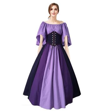 Women's Halloween Medieval Renaissance Viking Corset Cosplay Costume Dress