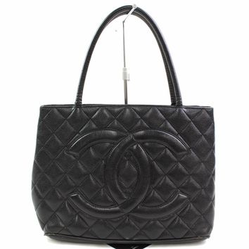 Authentic Chanel Tote Bag MEDALLION Black Leather 261902