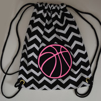 Hot Pink Glitter BASKETBALL on Black and White Chevron Backpack Bag