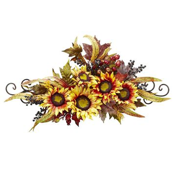 Silk Flowers -Sunflower Swag With Metal Frame Wreath Artificial Plant