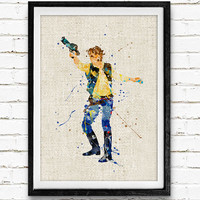 Star Wars Han Solo Watercolor Poster Print, Star Wars Watercolor Print, Boys Room Wall Art, Home Decor, Not Framed, Buy 2 Get 1 Free!