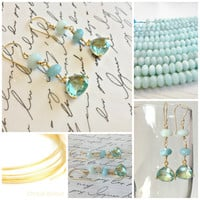 Sunlight on Caribbean Waves...Aquamarine Trillians set in gold vermeil wire wrapped with an ombre shading of Amazonite.