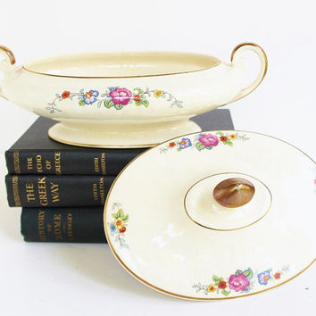 Vintage Floral Transferware Ceramic Casserole Covered Dish / Imported English Clay Gold Trim Handles / Edgemore, B Peterson, Minneapolis, MN