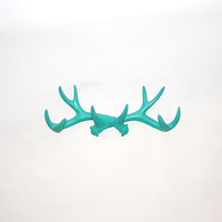 Turquoise Faux Antler Mount - Antler Wall Rack - Antler Wall Hook - Resin Antler Wall Decor