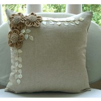 Jute Blooms - Throw Pillow Covers - 16x16 Inches Linen Pillow Cover with Jute Embroidery