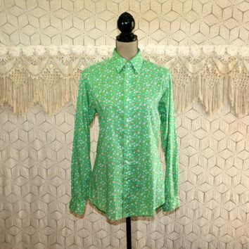 80s Green Shirt Floral Top Cotton Blouse Long Sleeve Button Up Long Fitted Shirt Ralph