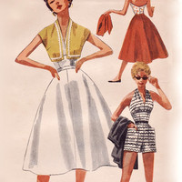 Vintage 50s Sewing Pattern - Marilyn Monroe Halter Top, Shorts, Cropped Bolero Jacket, Full Skirt - 1954 Simplicity 4748, Bust 34 Uncut