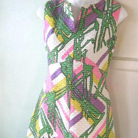 Amazing 1960s Palazzo-Style Maxi Dress; Quilty Green/Pink/Purple Abstract Print Sleeveless Mod Dress; Women's Small; U.S. Shipping Included