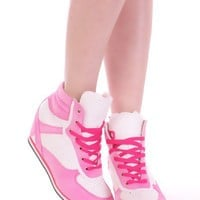 Pink White Lace Up Sneaker Wedges