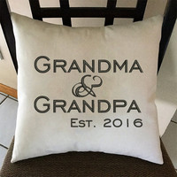 Grandparents Pillow, Grandparent Gift, Embroidered Pillow, Mother's Day, Father's Day, Pregnancy Announcement Pillow