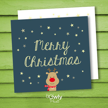 Printable Merry Christmas postcard. Ready to print  two sided  Christmas Card. Merry Christmas card.