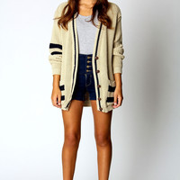 Dania Striped Arm Boyfriend Cardigan