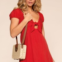 Emma Tie Front Dress - Red