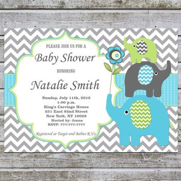 Baby Shower Invitations Boy | Elephant Baby Shower Invitation Boy Printable | Baby Boy Shower Invites | Instant Download | Editable PDF (87f