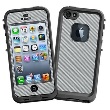 Textured Carbon Fiber Silver Grey Skin for LifeProof fre iPhone 5/5S Case