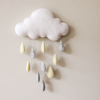 Felt Cloud Gender Neutral Baby Mobile, Wall Hanging, Window Hanging, Cloud with Yellow and Grey Raindrops