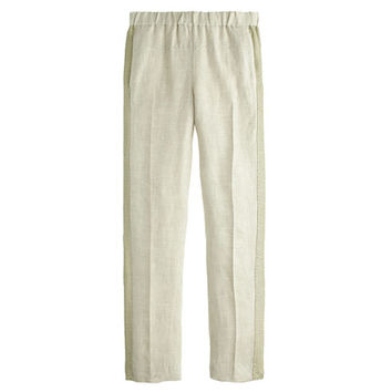 J.Crew Womens Collection Linen Pull-On Pant With Chain-Mail Tux Stripe