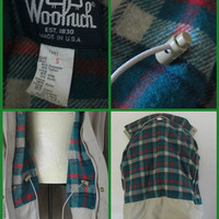 Woolrich Khaki Plaid Wool Jacket