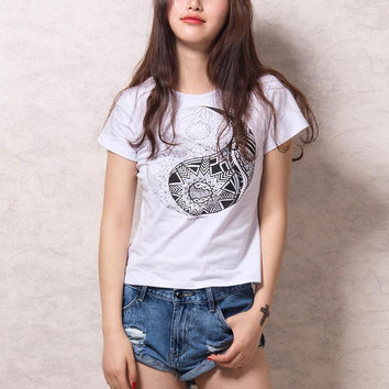 White Short Sleeve Eight Diagrams Print T-shirt