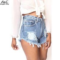 2016 Women's Fashion Vintage Tassel Ripped Hole Mid Waisted Short Jeans Punk Sexy Hot Woman Sheath Denim Shorts U2