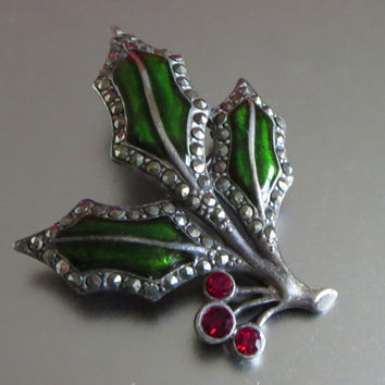 Vintage Holly Pin, Christmas in July, Green Enamel Ruby Red Rhinestone & Marcasite Holly Sprig Brooch