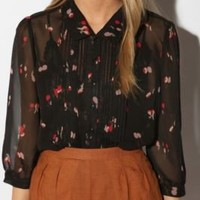 UrbanOutfitters.com > Pins and Needles Scalloped Placket Chiffon Blouse