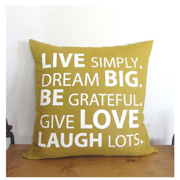 Live Simply Quote Pillow Cover - Mustard/ Ivory