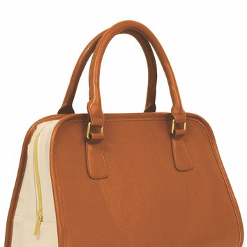 Retro Tan Teardrop Insulated Lunch Handbag