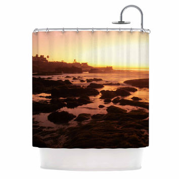 "Nick Nareshni ""Rocks Of La Jolla Sunset"" Yellow Orange Shower Curtain"