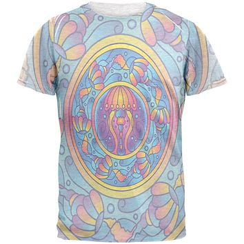 Mandala Trippy Stained Glass Jellyfish Mens T Shirt