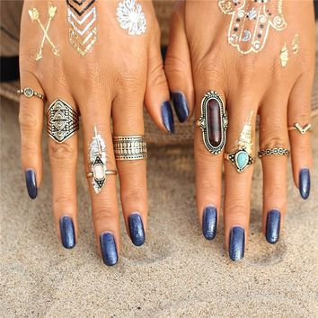 Bohemian Queen Midi and Stone Ring Set