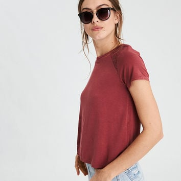 AE Soft & Sexy Lace Inset T-Shirt , Red