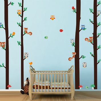 cik1666 Full Color Wall decal bedroom children's room decor Custom Baby Nursery on bed baby tree nusery decal tree forest animals owl squirrel