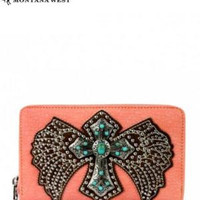 Montana West Wing and Cross Wallet with Turquoise Accents
