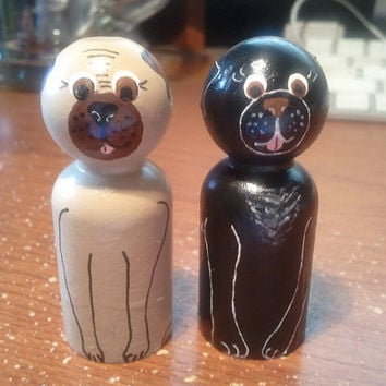 "READY TO SHIP - Who doesnt love Pugs, wooden peg people ""Choice of One """