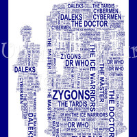 The Doctor & The Tardis Style A4 Shaped Word Art. Instant Download. Dr Who. Unique Printable Art. Home Decor. Original Gift Idea. Geek Gift.