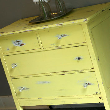 Vintage 3 Drawer Yellow DRESSER
