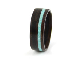 Ebony Wooden Ring with Offset Turquoise Inlay by Harestree on Etsy