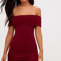 Burgundy Bardot Ruched Side Bodycon Dress