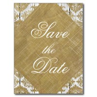 Save the Date Vintage Gold Damask and Wood