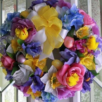Easter Wreath with assorted spring flowers, Easter Eggs, and little chicks