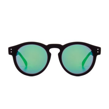 Komono - Clement Black Rubber Blue Mirror Sunglasses