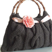 Cafe brown knitted JUBBJUBB handmade handbag with by PinKyJubb