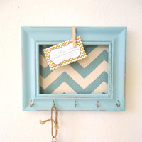 Key Holder Memo board Wall Hook Home Decor - Chevron Frame Organization Tiffany blue 5 Silver Hooks- House warming gift-Ready to Ship