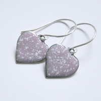 Pretty Mauve Enamel Heart Earrings